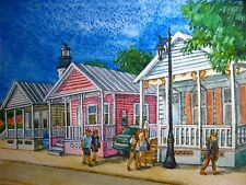 Watercolor Painting Key West Colored House Island Street People Nature Art 5x7