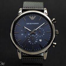 EmporioArmani Herrenuhr Chronograph AR1979 Milanaise Edelstahl Farbe Grau Silber