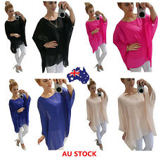 Women Batwing Sleeve Oversize Tops Loose Pullover Plain Blouse T-Shirt Plus Size