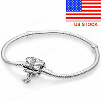925 Silver Butterfly Charms Bracelet Chain Bangle For DIY Jewelry Charm Bead