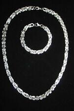 Königskette & Armband Edelstahl 8mm / 60cm Herrenkette Silber Platin Weißgold