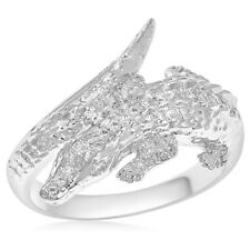 Crocodile Reptile Right Hand Cocktail Ring 18K White Gold Pave Diamond Alligator