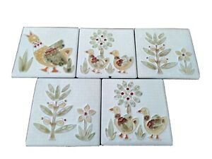 Hand Painted Ceramic Wall Tiles x5  'Sichenia' made in Italy