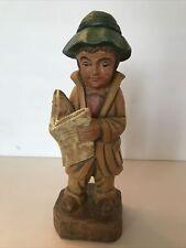Vintage Hand Carved Boy/Man Newspaper Hat Slicker Boots Fisherman
