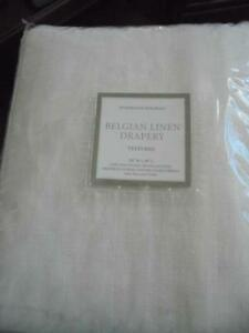 "Restoration Hardware Belgian white linen drapery 50 x 96"" brand-new in package!"
