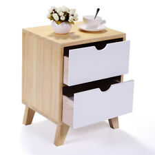 W/2 Drawers Nightstand Bedside Cabinet End Table Bedroom Furniture Storage White