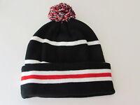 Two Tone POM POM Striped Beanie Cap Hat Knit Winter Ski Warm Cuffed Skull