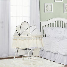 Baby Cradle Bassinet Cream Portable 2 In 1 Canopy Rocking Portable Wheel