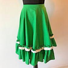 Vintage Green White Fringe Trim A-Line Ruffle Square Dance Skirt size XS SK