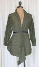 ANTHROPOLOGIE OPEN FRONT CARDIGAN WITH LACE IN OLIVE GREEN BY WILLOW & CLAY