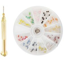 120 Stk Nagelpiercing Nail Art Piercing Charms Dekoration & 1x Piercingbohrer