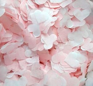 3500 Wedding Confetti Biodegradable BABY PINK WHITE Paper Hearts FILL 4 CONES