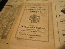MAP OF CENTRAL & SOUTHERN EUROPE ANTIQUE THOS. COOK & SON RAIL TRAVEL TRAIN SHIP