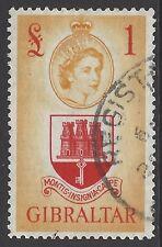 GIBRALTAR, 1953 £1 scarlet & orange-yellow top value, superb used, SG#158
