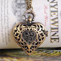 GIFT 1PC Bronze Tone Necklace Chain Quartz Pocket Watch B12986