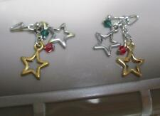 new Barbie Doll Ruby/Emerald Jewelry Silver/Gold Star Dangle Earrings-red/green