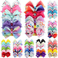 6pcs/set Baby Girls Kids Big Bows Boutique Hair Clip Pin Alligator Clips Bow