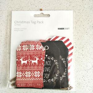 Kaisercraft christmas tags 12 pks 4 designs / 3 of each string included kaiser