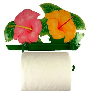 Tropical Hibiscus Toilet Paper TP Holder or Hand Towel Holder Haitian Metal Art