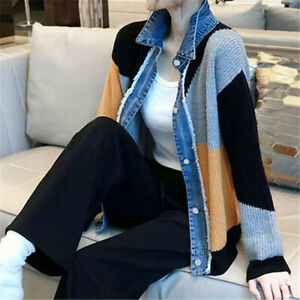 Womens Denim Patchwork Knitted Jumpers Loose Lapel Collar Shirt Sweater Casual T