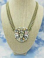 "Vintage Loft Choker Necklace Double Chain Gold Tone Large Rhinestone Pendant 18"""