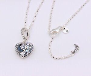New Authentic PANDORA Sparkling Blue Moon & Stars Heart Necklace #399232C01 BOX