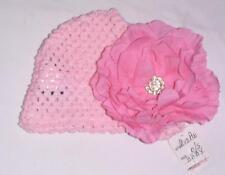 NEW MUD PIE BABY  CROCHET HAT PINK FLOWER RHINESTONE BLING-NEWBORN INFANT GIRL