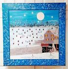 "Unique Lg Outsider Artist Benny Carter Folk Art Painting On Board ""Ice Fishing"""