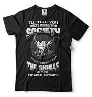 Viking T-shirt Viking Warrior T-shirts Cool Vikings Slogan Shirt Skull T-shirt