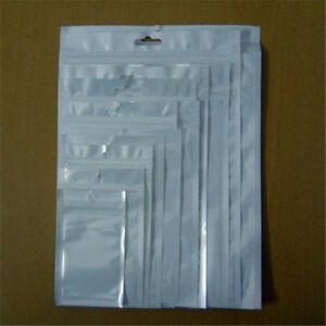 100pcs Various Sizes White/Clear Self Zip lock Plastic Retail Packaging Poly Bag