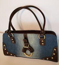 Embellished Denim Faded Blue with Studs/Brown Trim Handbag