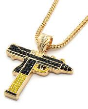 "Mens Gold Black/Yellow Gun Uzi Pendant Hip-Hop 36"" Inch Franco Necklace Chain"