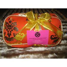 Ladies Damask Duo Gift Set 2 Cosmetic Make Up Cases Orange/Gold Gift Idea