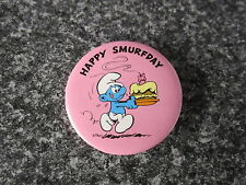 Smurf Badge Button with clip Happy Birthday Smurfday Smurf vintage rare