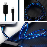 Visible Flowing LED Light Micro USB Charger Data Sync Cable Cord for Samsung HTC