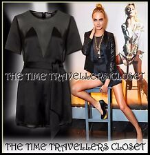 BNWT TOPSHOP KATE MOSS BLACK SATIN & SHEER CUT OUT BOW BELTED PLAYSUIT UK 8 36 4