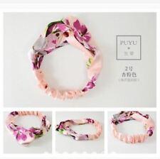 Silky Satin Fabric Peach Floral Elastic Headband