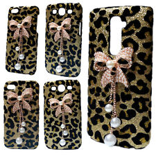 Cute Bling Glitter Bow Rhinestone Diamond Crystal Leopard Case Cover for Phones