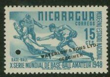 Nicaragua 1949 Baseball 15c Waterlow sample turquoise