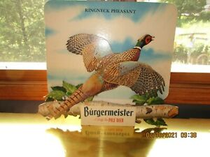 RARE Vintage 3D Burgermeister Cardboard Beer Sign with Ringneck Pheasant 1950s