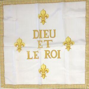 Drapeau catholique royaliste vendéen Fleur de Lys roi Sacré Dieu Et Le Roi Royal