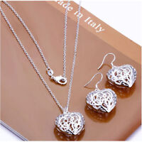 ASAMO Donna Cuore Set Accessori Collana Pendenti Placcato IN Argento Sterling