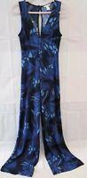 H&M Small Women's Jumpsuit Pant Suit Sleeveless Plunge Neck Blue Floral Mod Hipp