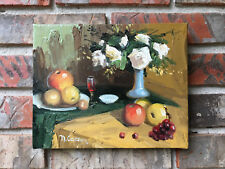 """OIL Painting-Elegant Textured Wine,  Floral and Fruit Still Life 8""""x 10"""""""