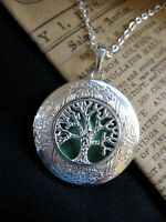 Tree of Life LOCKET Necklace Pendant Gothic Forest Green Vintage Fantasy Fae