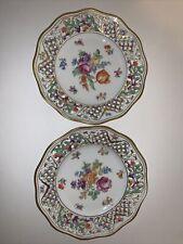 "2 Vtg. Schumann Germany Chateau Dresden Flowers Reticulated Dessert Plates 7.5"""