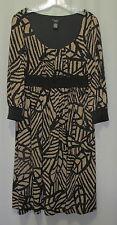 Dress size 12 M black brown knit polyester spandex 3/4 sleeve empire waist GNW