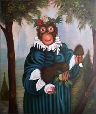 Quality Hand Painted Oil Painting, Monkey Holding Flowers 20x24in