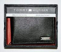 TOMMY HILFIGER Leather Black Wallet RFID Blocking ORIGINAL