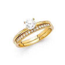 1.55 Ct Round Cut Engagement Wedding Ring Set Real 14K Yellow Gold Matching Band